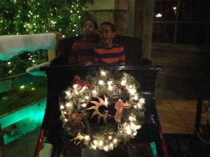 Son crying in Christmas sled